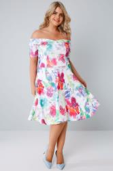 SIENNA COUTURE White & Multi Bright Floral Bardot Skater Dress