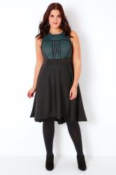 Teal & Black Shadow Stripe Skater Dress With Dipped Hem