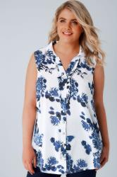 White & Blue Floral Print Sleeveless Blouse With Ruffle Placket