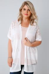 White Crochet Knit Cardigan With Short Sleeves