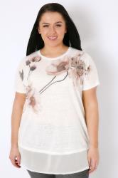 White & Pink Floral Print Chiffon Hem Top