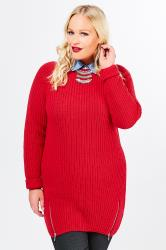 Red Knitted Jumper With Zip Hem Detail