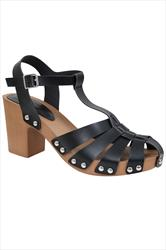 Black Strap Block Heel Sandal With Wooden Effect Sole In E Fit