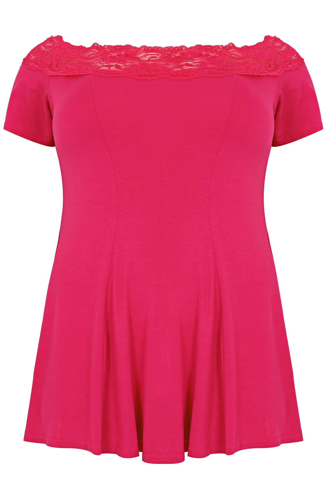 Pink Lace Bardot Top With Short Sleeves Plus size 16,18,20 ...