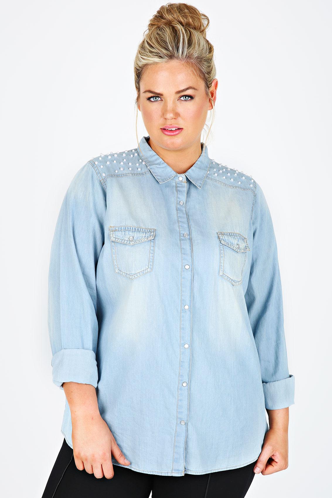 Light blue denim shirt with pearl bead detailing plus for Plus size light blue shirt