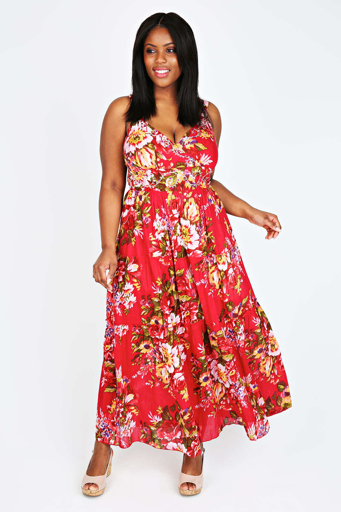 Plus Size Red Maxi Dress Uk 25