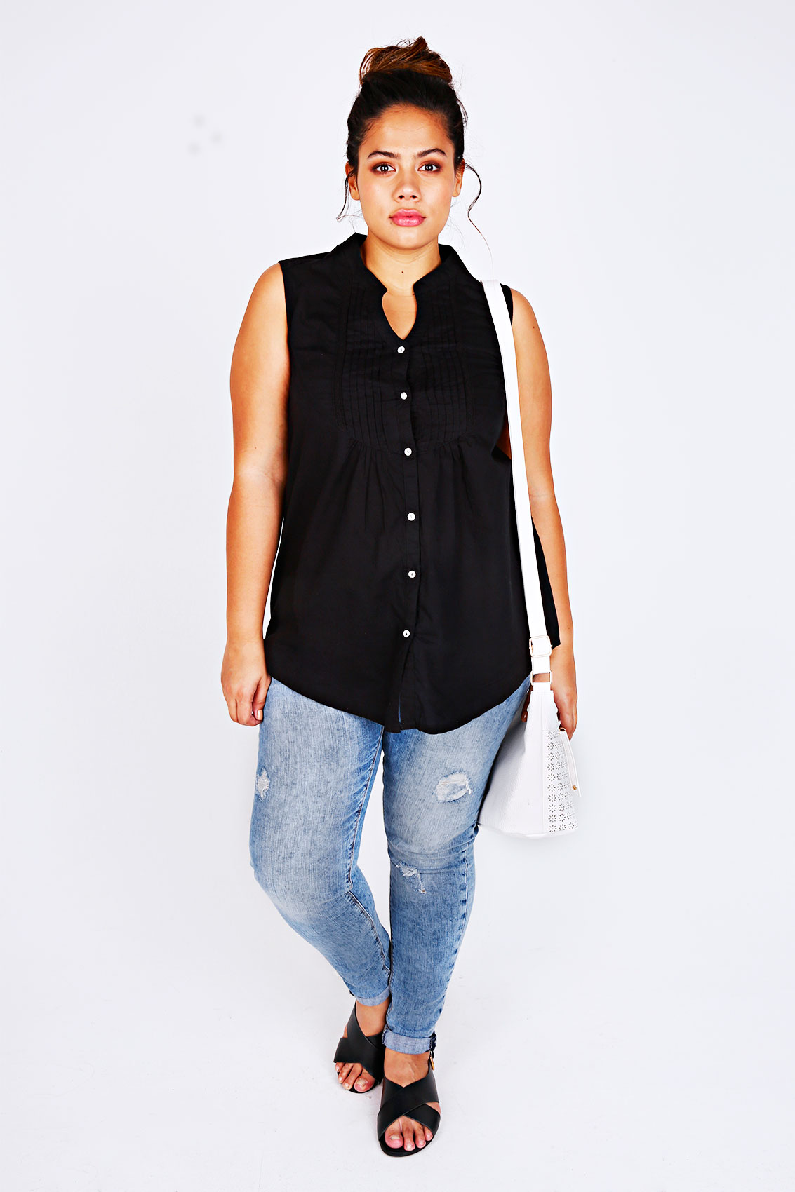 Black sleeveless checked shirt with pin tuck detail plus for Tucked in shirt plus size