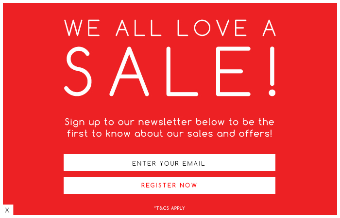 Sign up to be the first to know about sales and offers