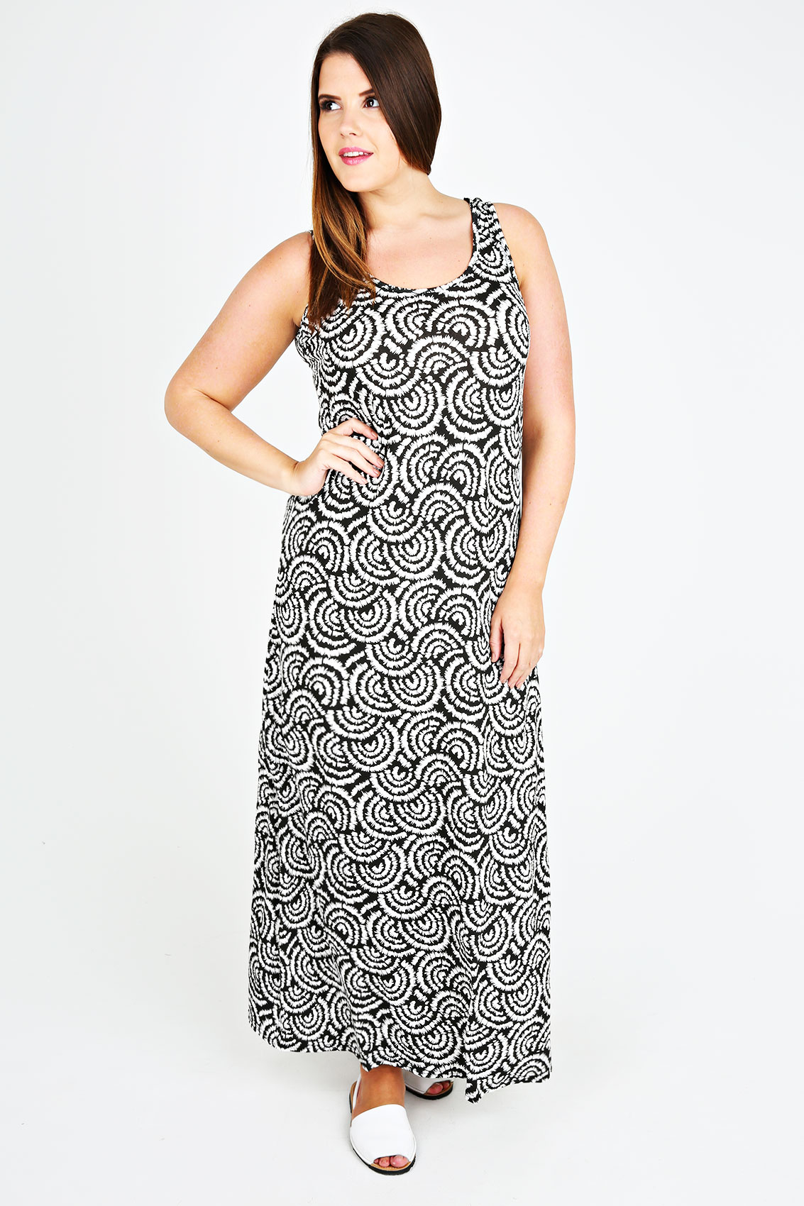 Black white swirl print jersey maxi dress plus size 14 for 20 34 35 dress shirts