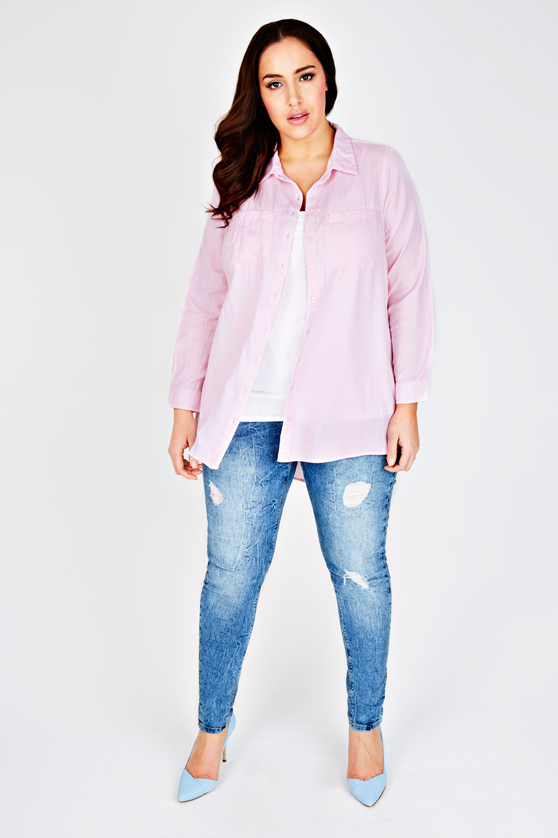 Pink Chambray Cotton Boyfriend Button Up Shirt With Dip