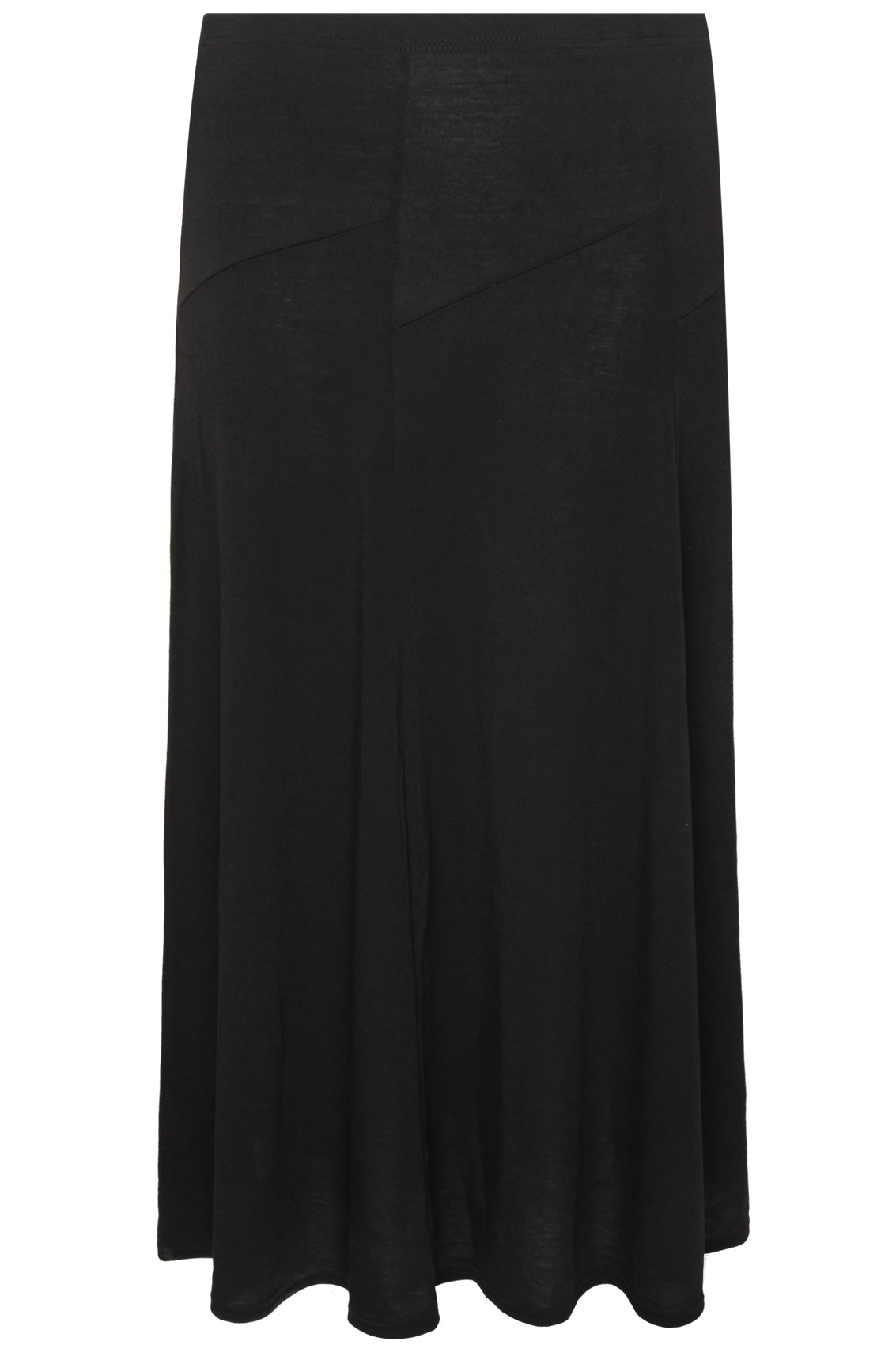 black jersey maxi skirt with abstract panel detail plus