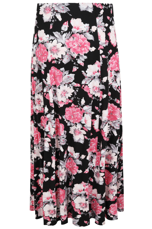 pastel pink black floral maxi paneled skirt plus sizes
