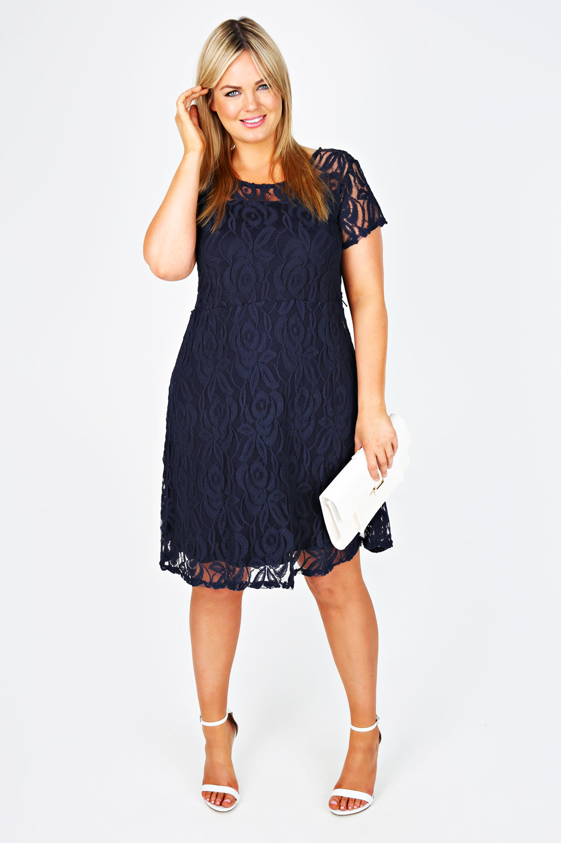 Plus Size Navy Lace Dress – Fashion dresses