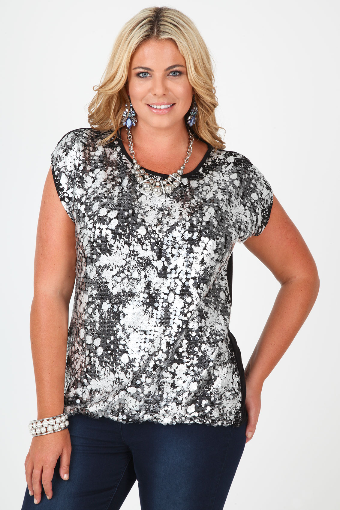 Black And Silver Foil Sequin Detail Top With Bubble Hem ...