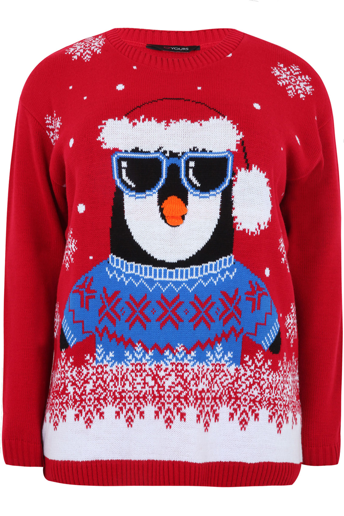 Christmas Penguin Jumper Knitting Pattern : Red Knitted Penguin Novelty Christmas Jumper Plus size 16,18,20,22,24,26,28,3...