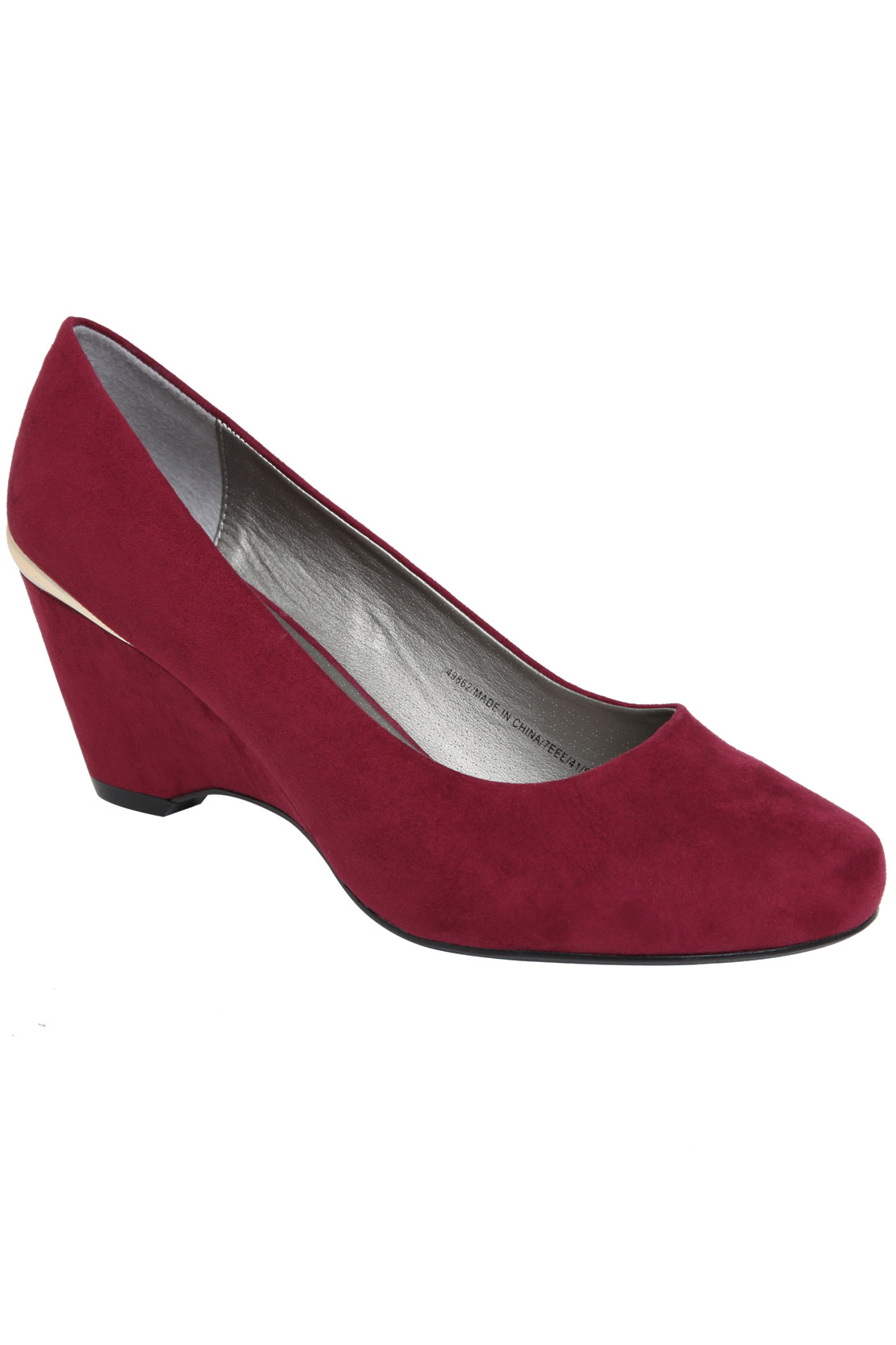 burgundy suedette wedge shoe with gold trim in eee fit