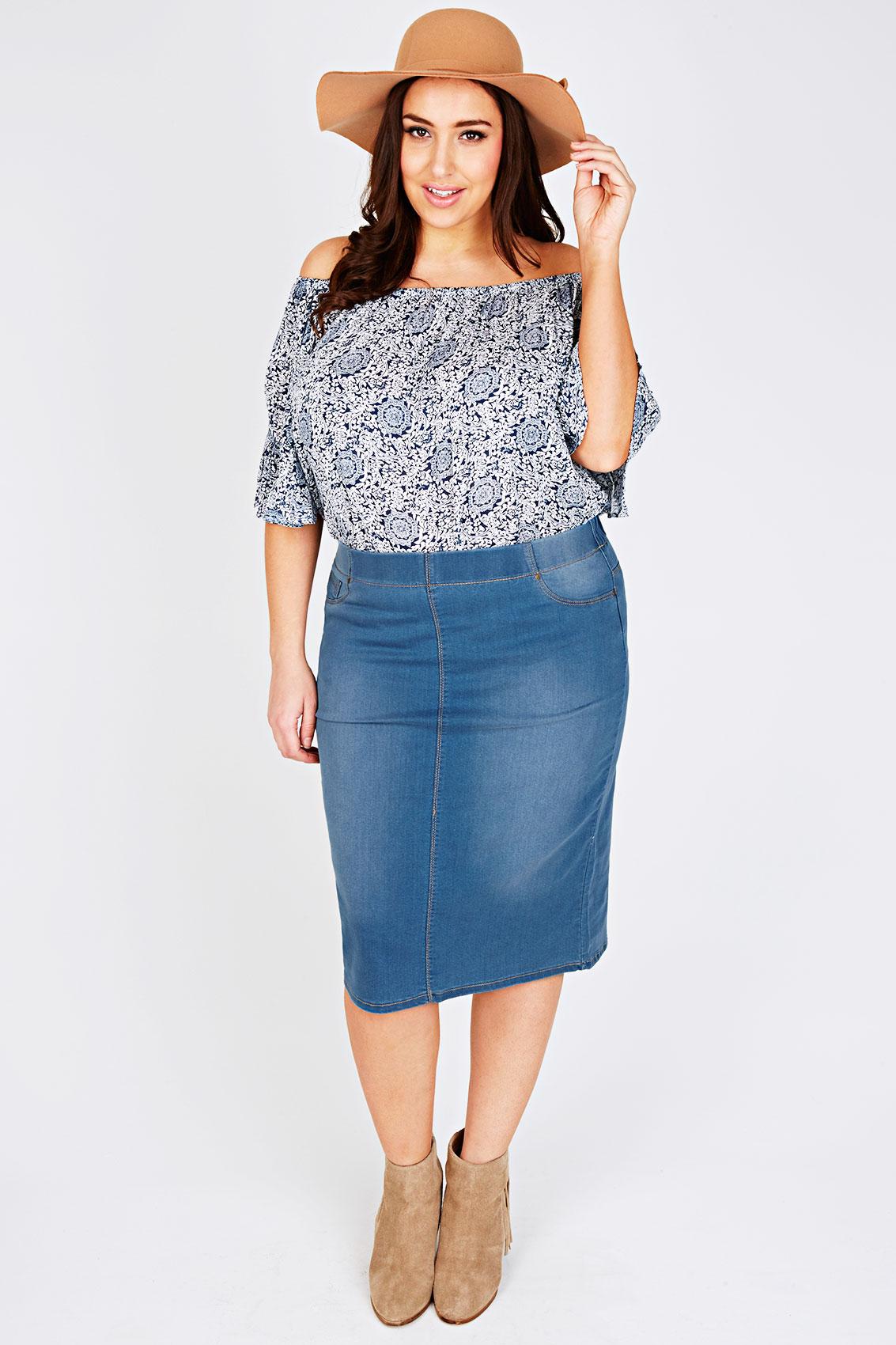 mid blue denim pull on midi pencil skirt plus size 16 18