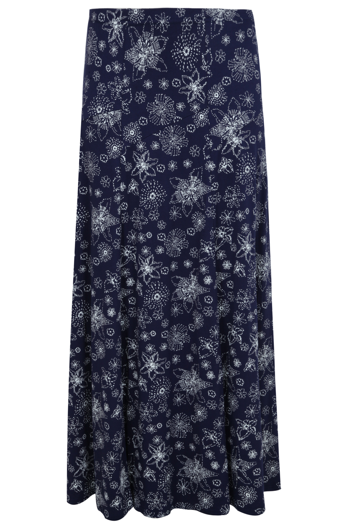 navy white dotted floral print jersey maxi skirt with