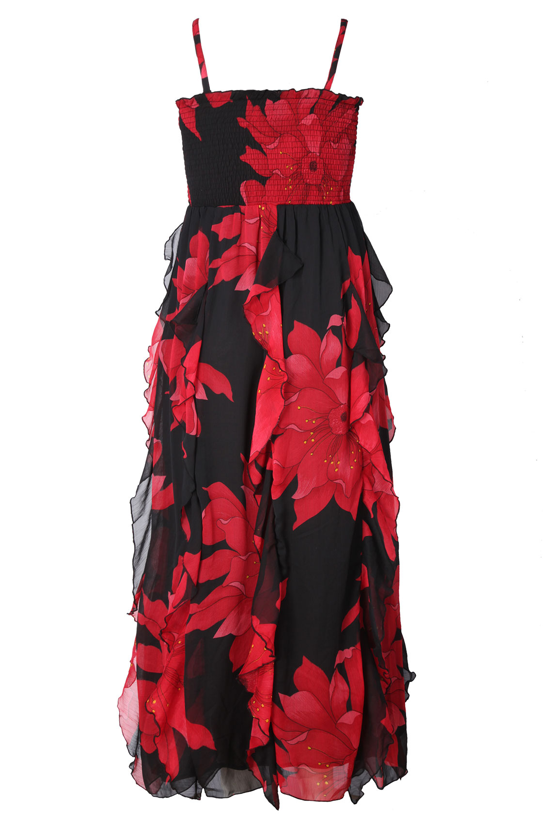 Plus Size Black And Red Maxi Dress Formal Dresses