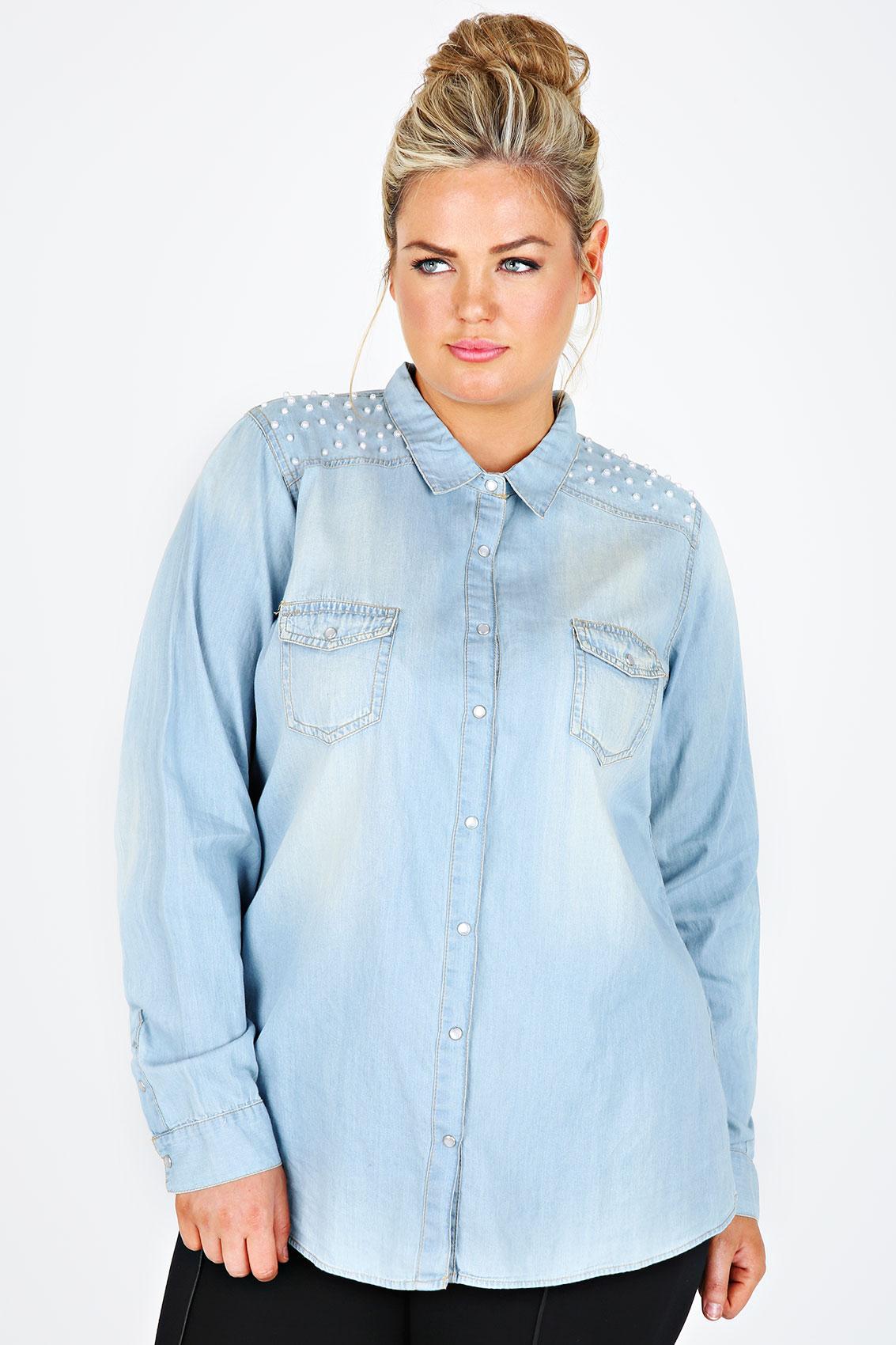 Light Blue Denim Shirt With Pearl Bead Detailing Plus