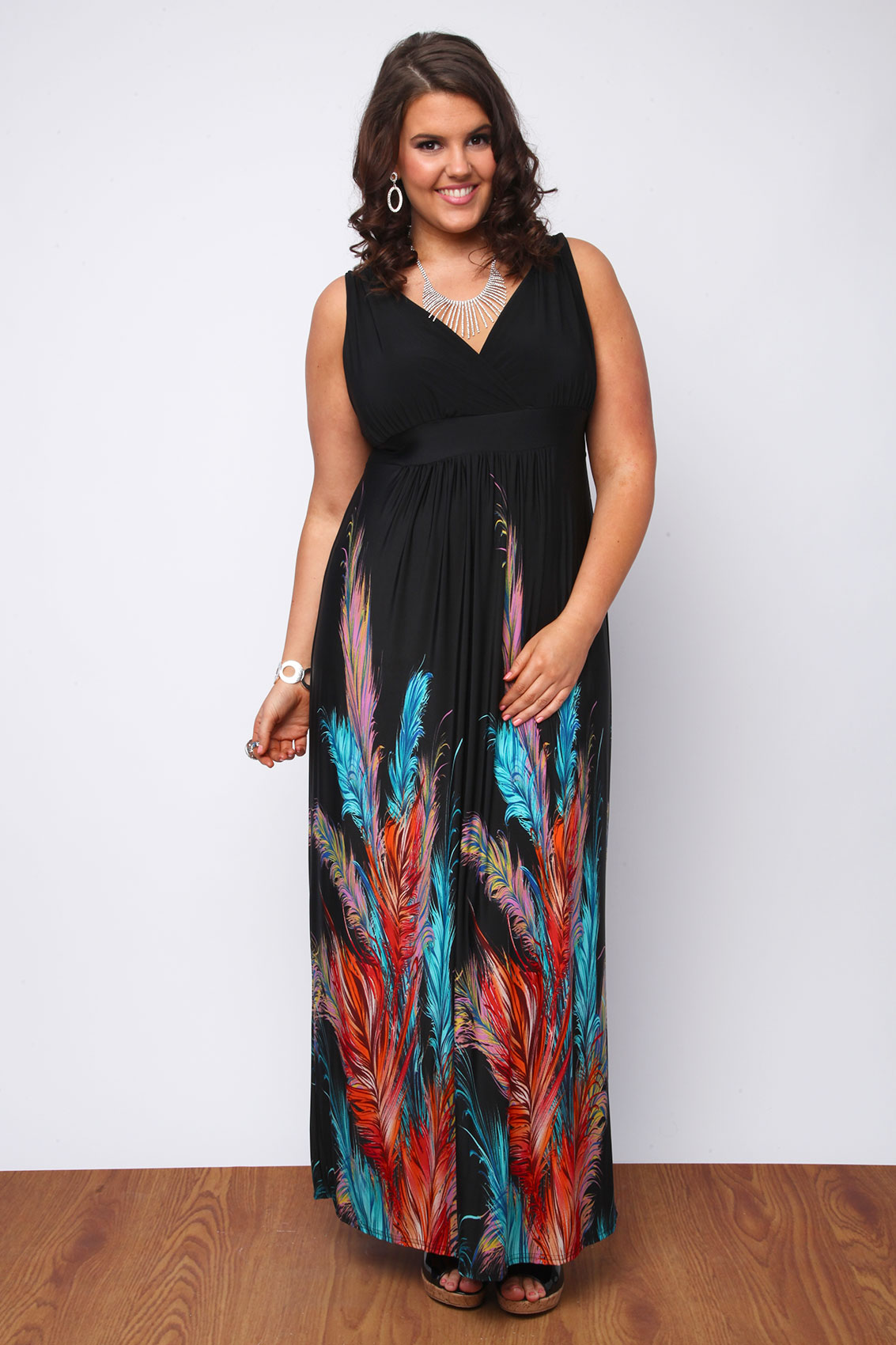 Orange and blue plus size dress