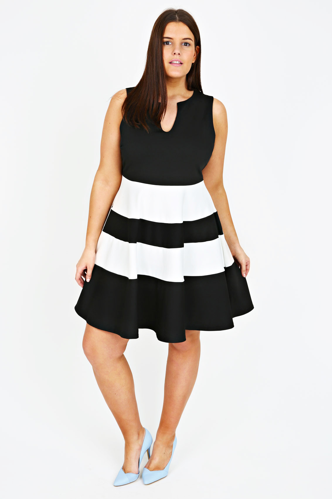 black and white monochrome block stripe skater dress plus size 14 16 18 20 22 24 26 28. Black Bedroom Furniture Sets. Home Design Ideas