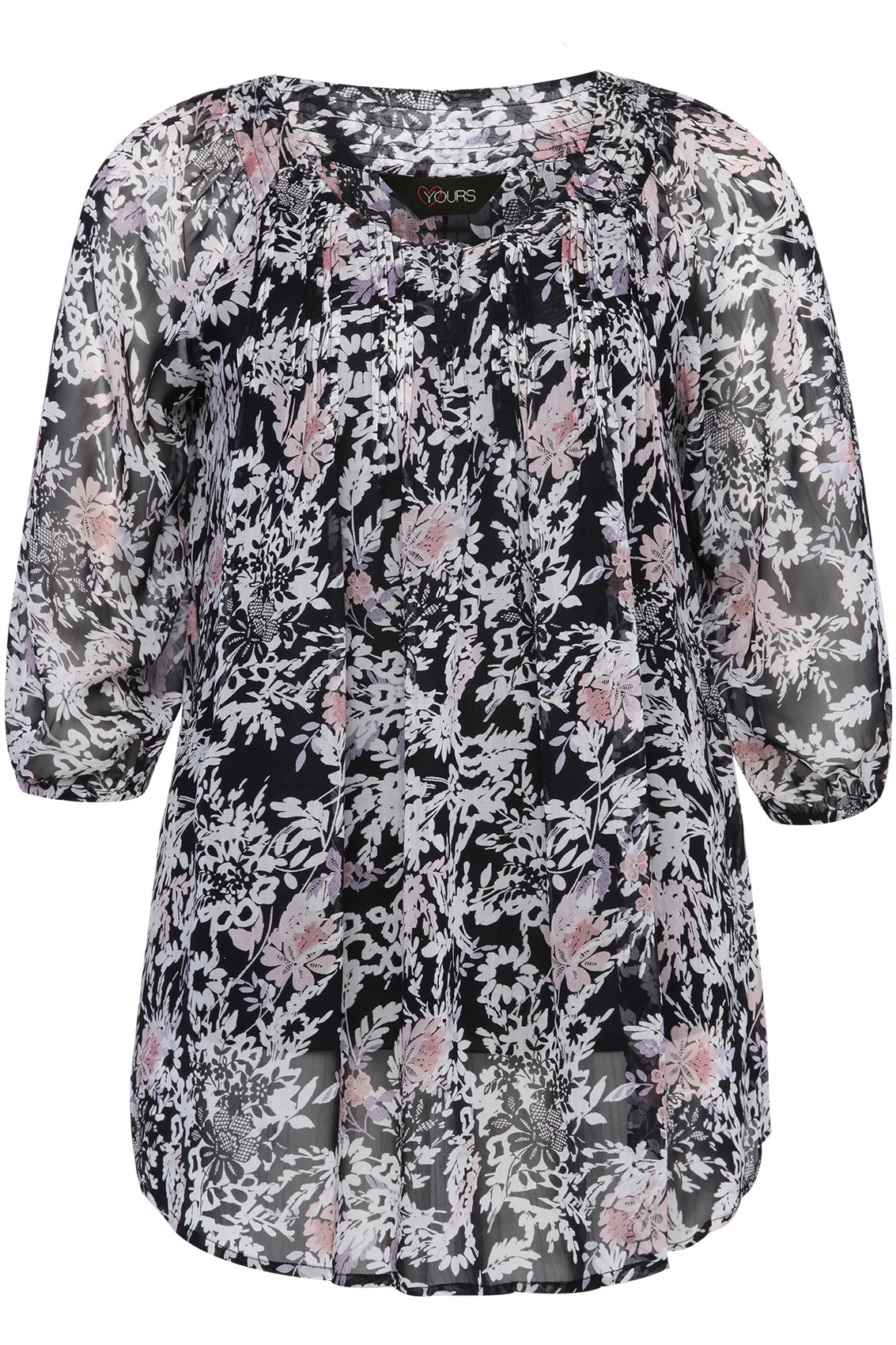 Black Blouse With Floral Print 109