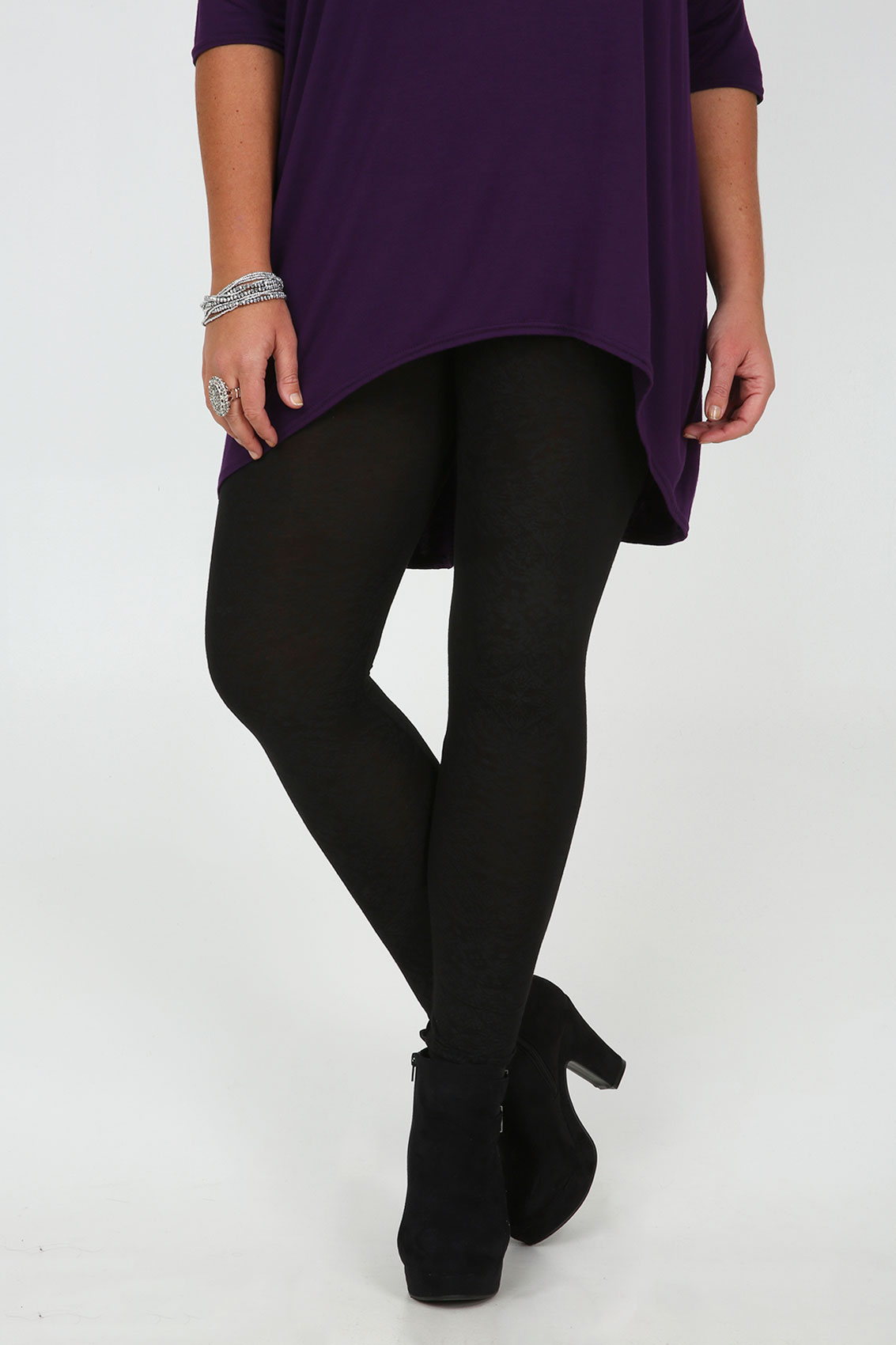 Black Ruched Leg Viscose Elastane Cropped Leggings Plus