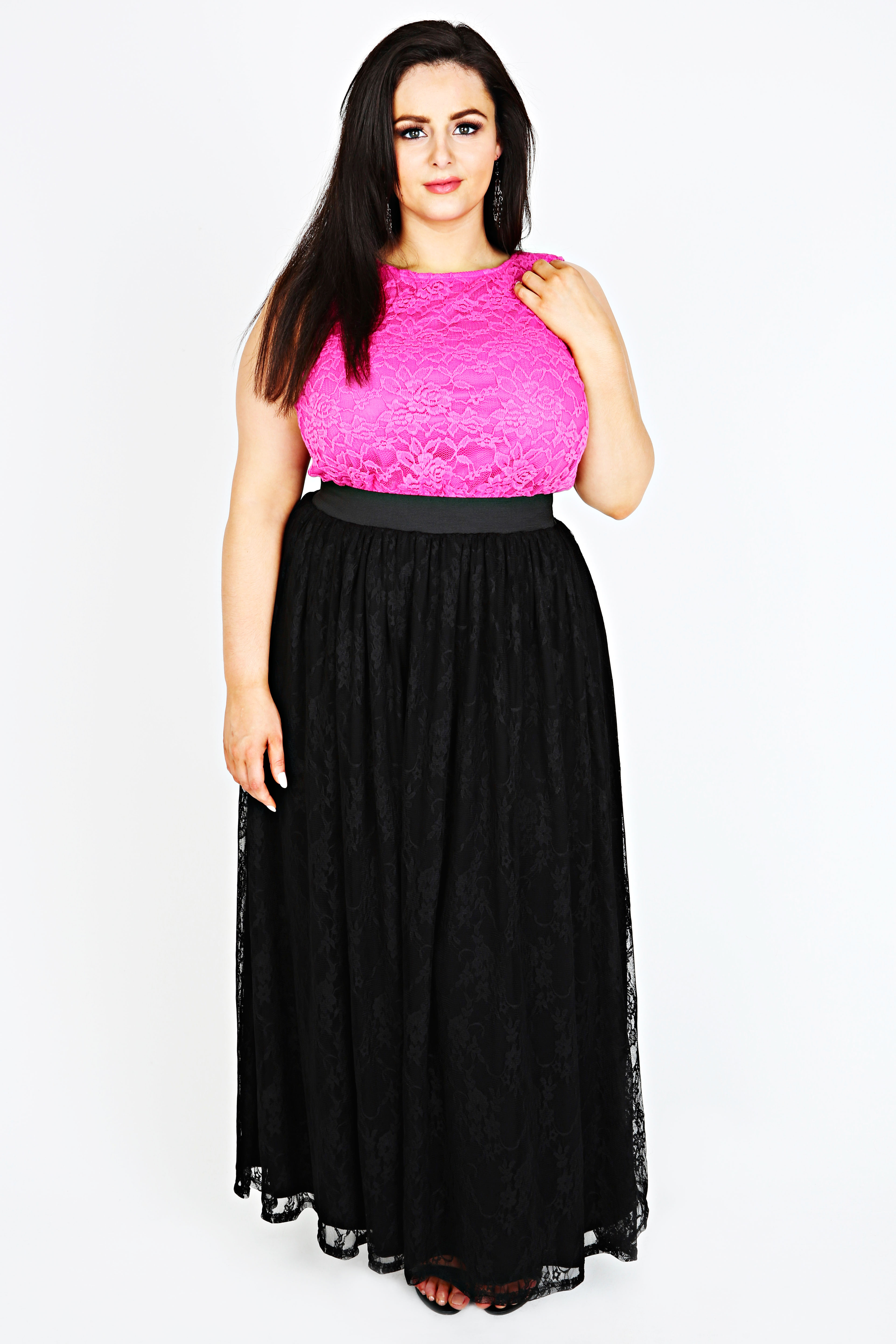 black jersey maxi skirt with lace overlay plus size 14 16